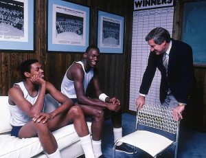 Sam Perkins, Michael Jordan, and Coach Dean Smith