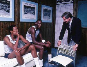 Sam Perkins, Michael Jordan, and Coach Dean Smith
